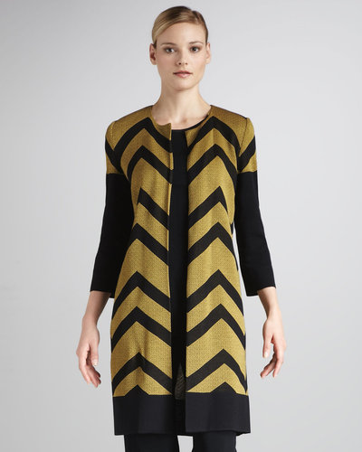 Misook Collection Chevron-Stripe Long Jacket