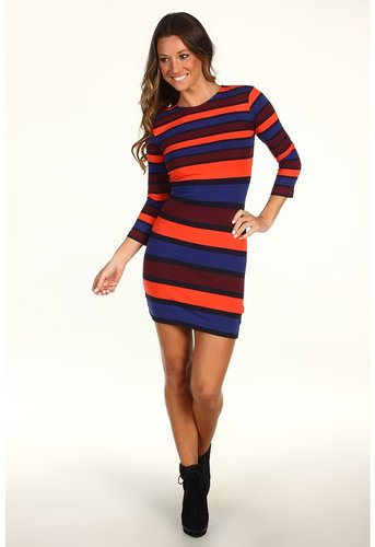 French Connection - Kiren Stripe Dress 71JX8 (Shiraz/Twinkle/Favella Red/Amethyst) - Apparel