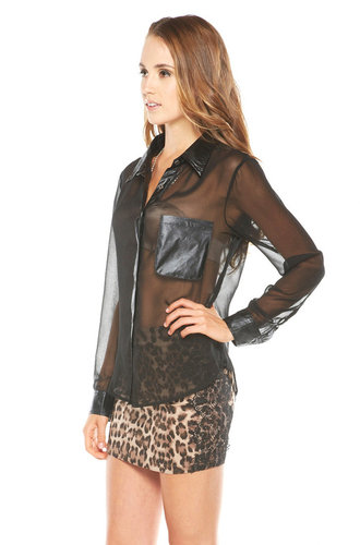 Girlfriends Sheer Leather-Collar Blouse