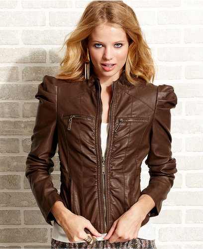 Jou Jou Juniors Jacket, Puff-Sleeve Faux-Leather