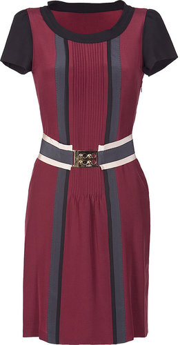 Fendi Burgundy Silk Short Sleeve Dress