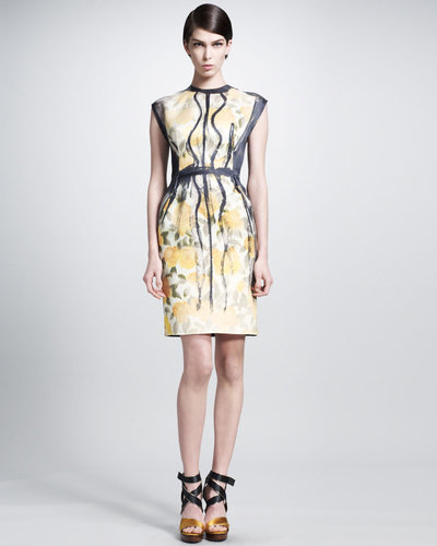 Lanvin Trompe l'Oeil Painted-Pleat Dress