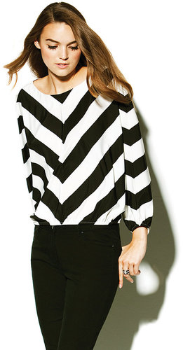 Chevron Wide Stripe Dolman Top