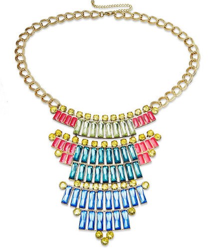 Bar III Necklace, Gold Tone Pyramid Crystal Statement Necklace