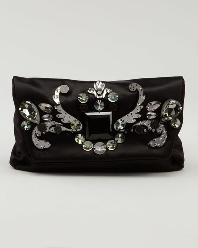 Lanvin Jeweled Satin Clutch Bag