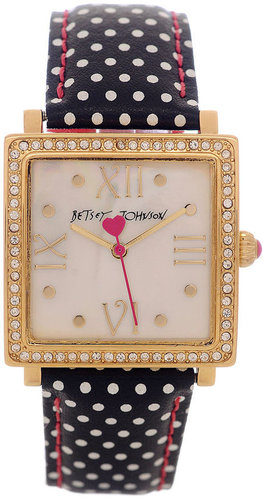 Betsey Johnson Watch, Women&#039;s Black and White Polka Dot Leather Strap 25mm BJ00041-05