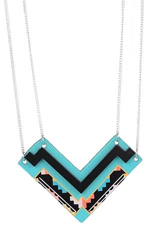 Chevron Stacked Necklace-Aqua