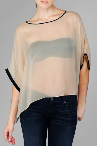 Boxy Chiffon Tee In Sheer Pink