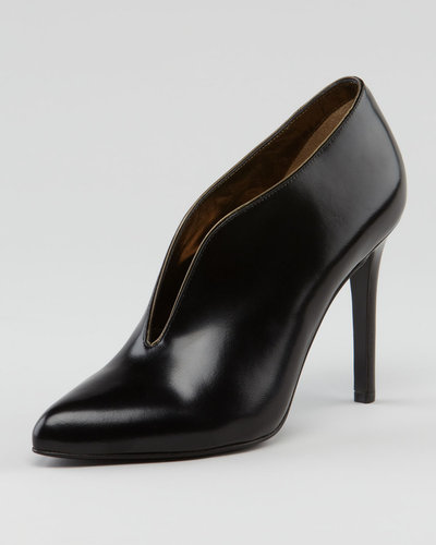 Lanvin Plunging Vamp Leather Bootie