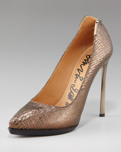 Lanvin Metal-Backed Pump, Gold