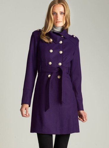 Guess Stand Collar Belted Wool Coat