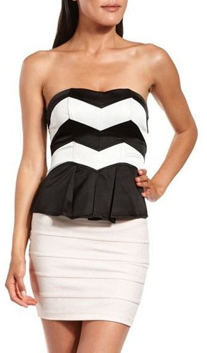 Chevron Stripe Zip-Back Corset