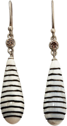 Monique Pan Diamond &amp; Woolly Mammoth Scrimshaw Cone Earrings