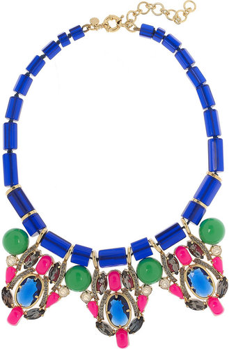 J.Crew Three Station crystal and bead necklace