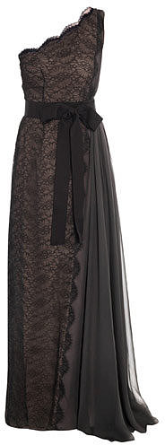 Lanvin Chantilly lace one-shouldered gown