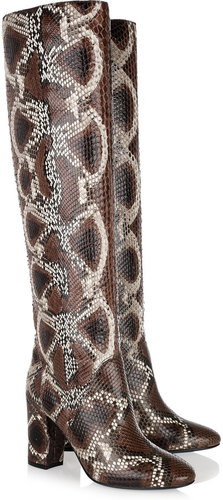 Lanvin Painted python knee boots