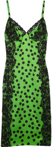 D&amp;G Polka dot-print stretch silk-satin dress