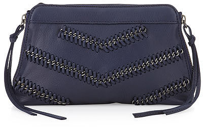 Linea Pelle Chevron Chain Clutch Bag, Midnight