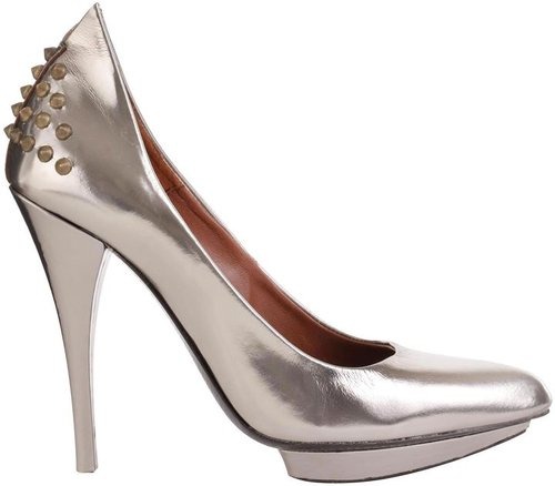 Silver High-Shine Studded Pump