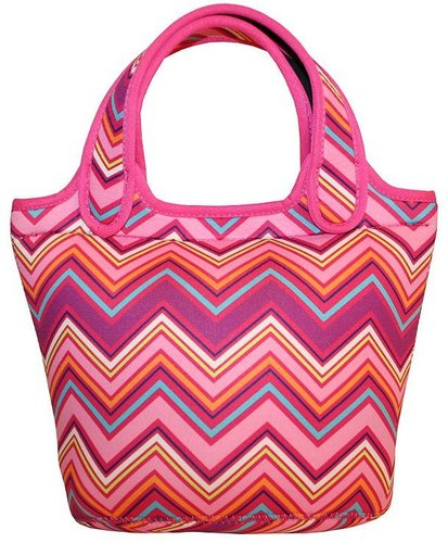 Tri-coastal design zigzag stripe insulated lunch tote