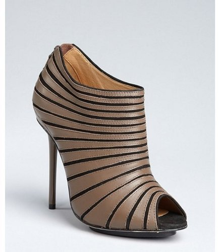 L.A.M.B. taupe leather and suede stripe 'Bindi' peep toe booties