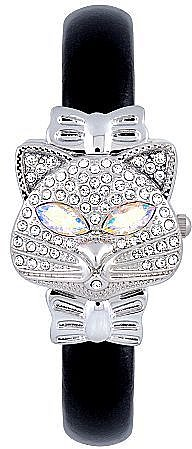 Women's Crystal Encrusted Cat Bangle Watch