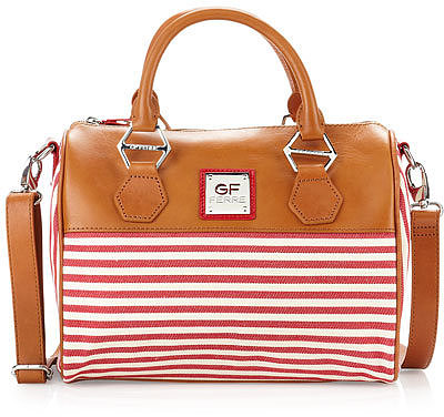Gianfranco Ferre Striped Canvas Satchel Bag, Red