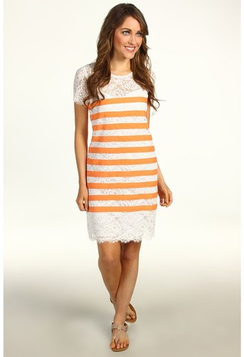 BCBGMAXAZRIA - Roxine Lace Shift Dress (Off White Combo) - Apparel