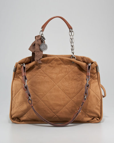 Lanvin Amalia Quilted Lambskin Bucket Tote Bag, Mocha