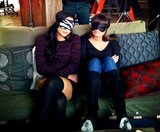 Lea Michele and Naya Rivera got some R&R on the set of Glee. Source: Twitter user msleamichele