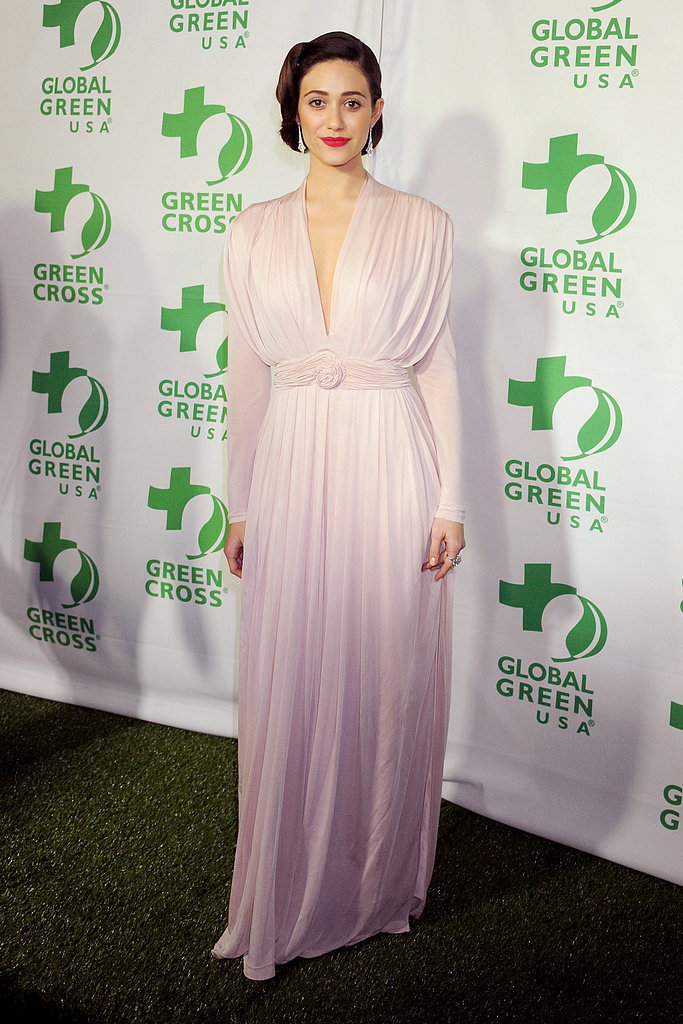 Emmy Rossum wore a lilac number.