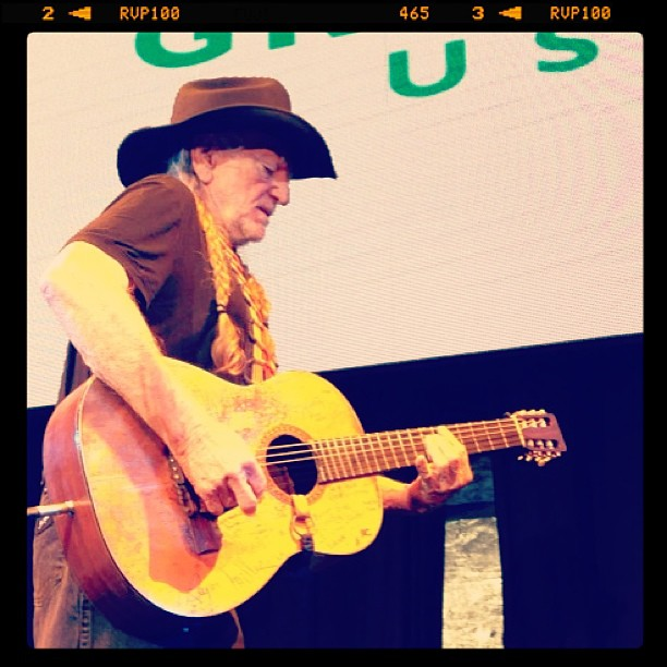 Sophia Bush shared this snapshot of Willie Nelson performing at Global Green's annual pre-Oscars party in LA on Wednesday.  Source: Instagram user sophiabush