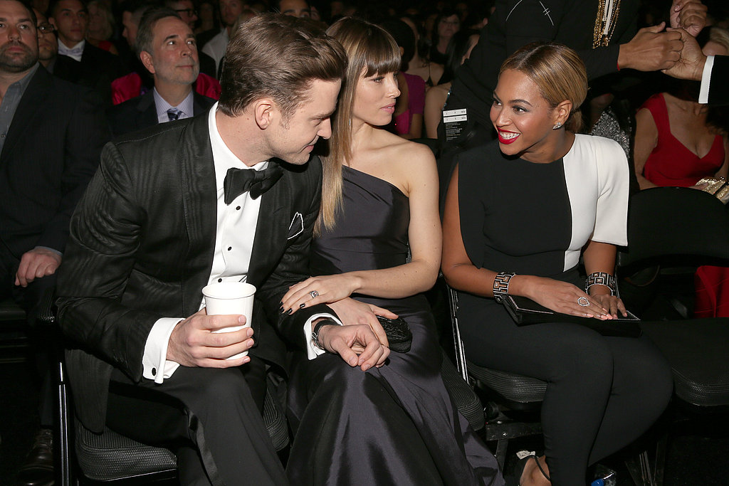 Justin Timberlake, Jessica Biel and Beyoncé Knowles shared a moment while sitting together in the audience at the Grammy Awards.