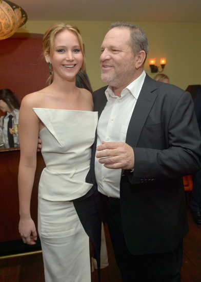 Jennifer Lawrence chatted with Harvey Weinstein.