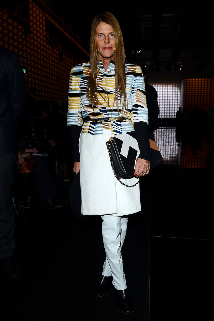 Anna Dello Russo proved the power of a statement coat at the Fendi show during Milan Fashion Week.