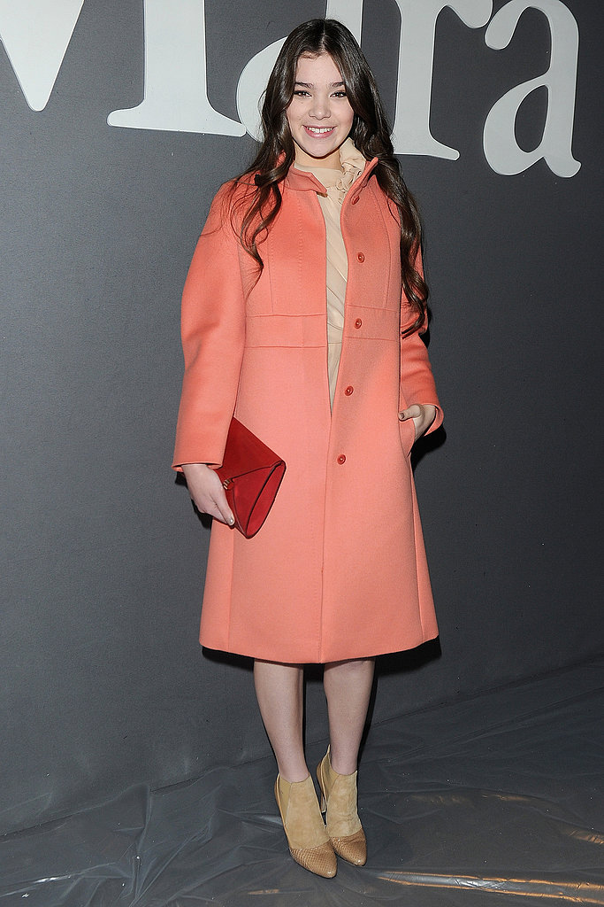 Hailee Steinfeld was ready for Spring in a peach coat, nude chiffon dress, and dual-texture booties at Max Mara.
