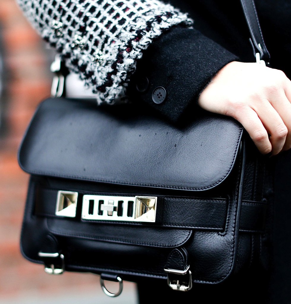 Proenza Schouler's slick PS11 bag topped off a black and white look at MFW.