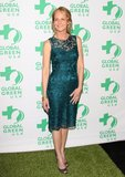 Helen Hunt shimmered in a metallic jewel-toned lace dress paired with peep-toe pumps.