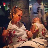 Jessica Alba enjoyed a lobster dinner with Honor. Source: Instagram user cash_warren