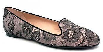 "Valentino ""DWS00046"" Taupe & Black Lace Smoking Slipper"