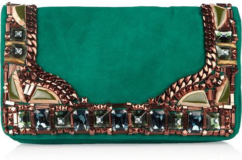 Matthew Williamson Embellished suede clutch