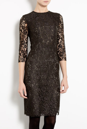 Joseph Dark Khaki Corine Lace Fitted Dress