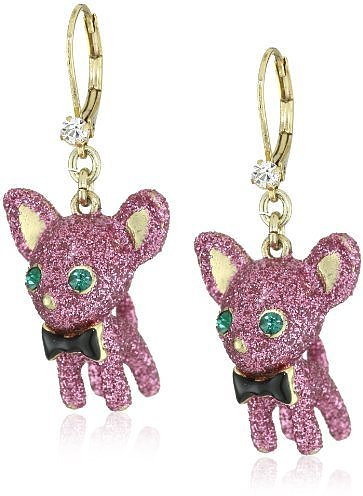 "Betsey Johnson ""Critter"" Glitter Chihuahua Drop Earrings"