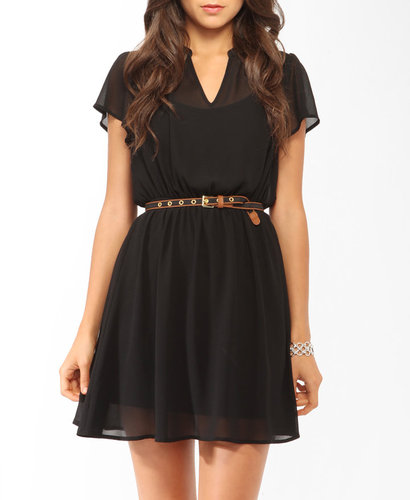 Forever 21 Short Sleeve Lace Inset Dress