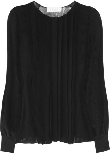 Chloé Pleated silk-georgette blouse