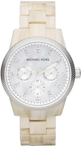 Michael Kors Watch, Women's Chronograph Ritz White Horn Acetate Bracelet 37mm MK5625 - First @ Macy's!