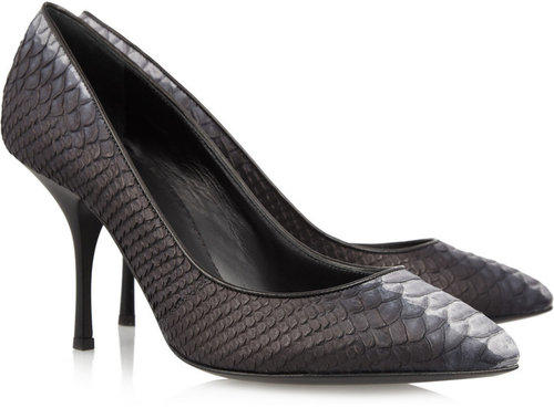 Giuseppe Zanotti Pointed python-effect leather pumps