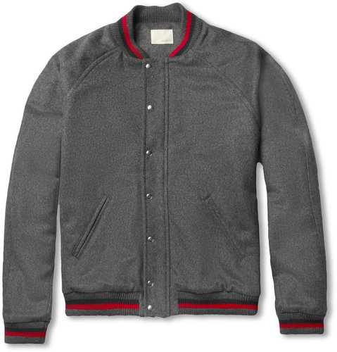 Band of Outsiders Quilted Camel Varsity Jacket