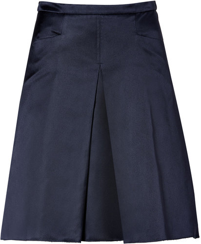 Jil Sander Navy Navy Silk Satin Skirt