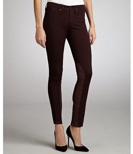 Rag &amp; Bone wine stretch twill leather detailed jodhpurs
